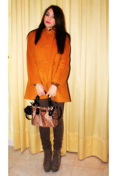 brown Zara sweater - light brown Jeffrey Campbell shoes - light orange Zara coat