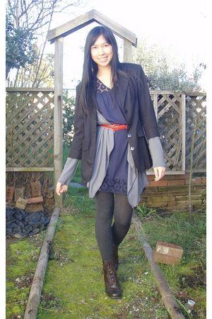 black blazer - gray Julies Closet cardigan - blue dress - red belt - gray tights