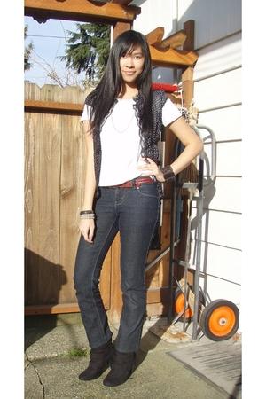 white shirt - black Charlotte Russe blouse - blue jeans - red belt - black boots