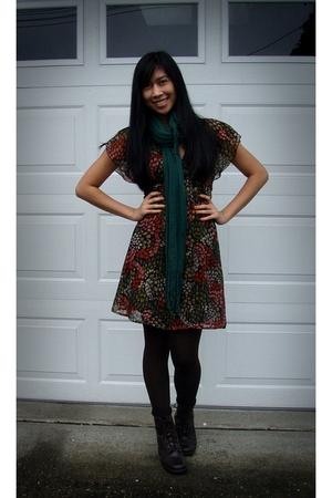 green H&M scarf - orange H&M dress - brown Spanx leggings - brown sporto boots