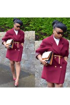 burgundy pumps - white cotton asos shirt - tan Primark bag