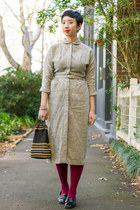 beige Raleigh Vintage dress - brick red burgundy tightsplease stockings