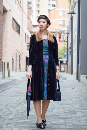 blue vintage dress - black vintage coat