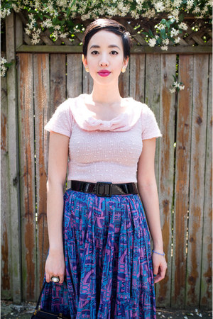 vintage bag - deep purple vintage skirt - light pink collectif top