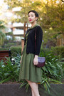 Green-diy-dress-brick-red-vintage-aigner-etienne-aigner-bag