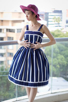 navy vintage dress - tawny seychelles shoes - magenta Minty Meets Munt hat