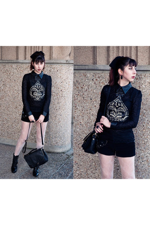 sequin lace romwe shirt - leather boots Carvela boots - PERSUNMALL bag