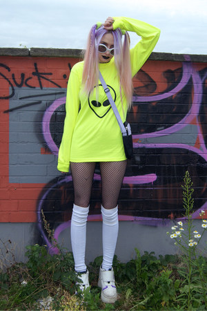 lime green alien DIY sweater - white platforms vintage boots
