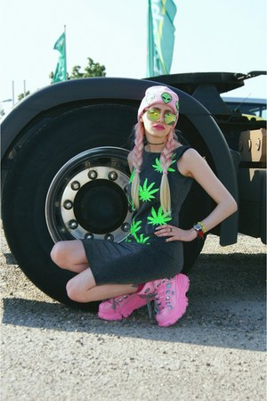 chartreuse weed DIY dress - bubble gum beanie DIY hat