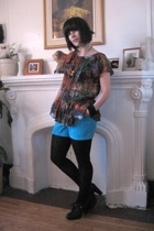 H&M blouse - shorts - tights - DinSko shoes