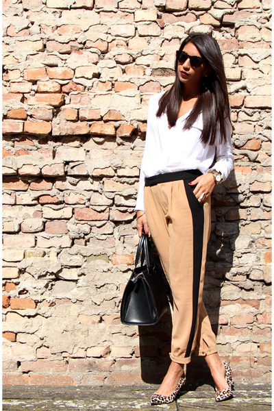 white Zara blouse - camel Zara pants - beige Nine West heels