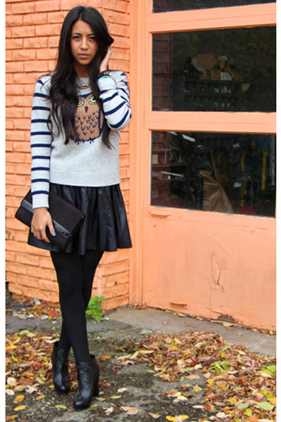 black mini skirt blush skirt - black booties Kelsi Dagger boots