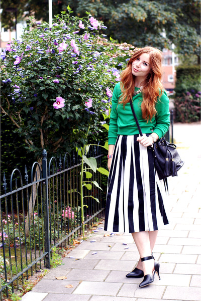 striped asos skirt - cropped Glamorous sweater - duffle asos bag