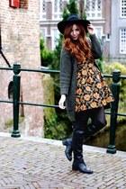 black overknee Zara boots - mustard jaquard asos dress