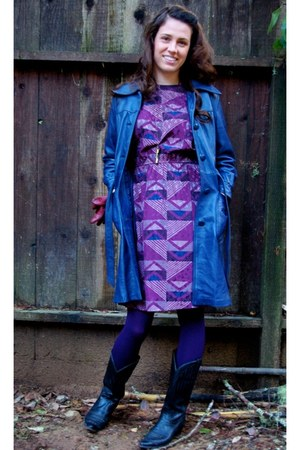 purple 80s vintage dress - blue leather vintage jacket