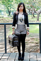 black edgy new look boots - black Forever 21 blazer - dark brown suitcase bag