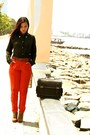 Vintage-forever21-boots-shirt-bag-orange-pants