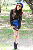 blue bowler hat - black collar tip shirt - black studded clutch Forever21 bag