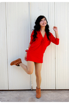 red juzzie dress - orange karina jualansepatu shoes