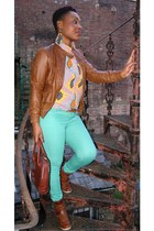 brown leather Love Label jacket - aquamarine skinny new look jeans