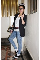 jeans - socks - shoes - blazer - v neck