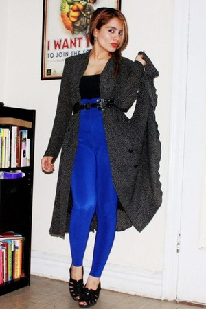 black vintage dress - blue vintage leggings