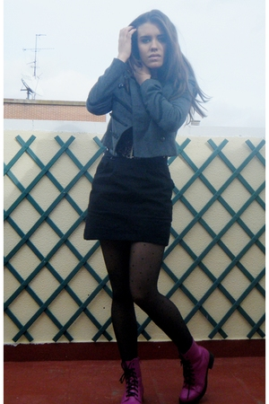 black Zara tights - pink H&M shoes - silver Sfera jacket
