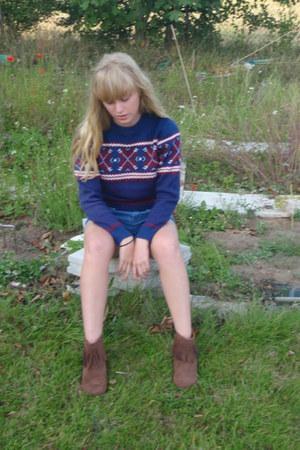 dark brown boots - blue Topshop shorts - navy Pop jumper