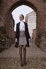 Elisabetta-franchi-coat-gray-python-pattern-skirt
