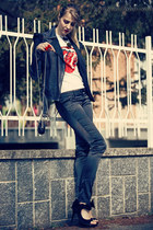 black leather Iceberg jacket - white amplified t-shirt - black Tally Weijl pants