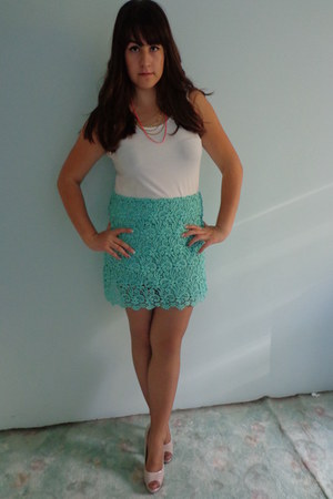 aquamarine Zara skirt - yellow H&M necklace - white Stradivarius blouse
