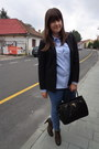 Dark-brown-boots-blue-h-m-jeans-black-h-m-blazer-navy-zara-shirt