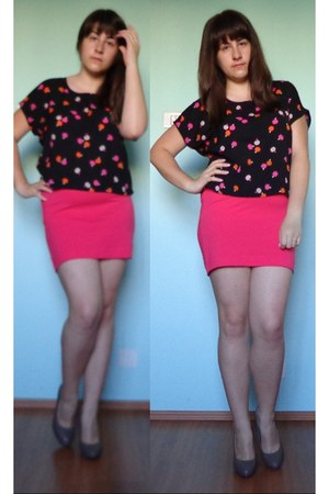 black H&M blouse - brown no name shoes - hot pink H&M skirt
