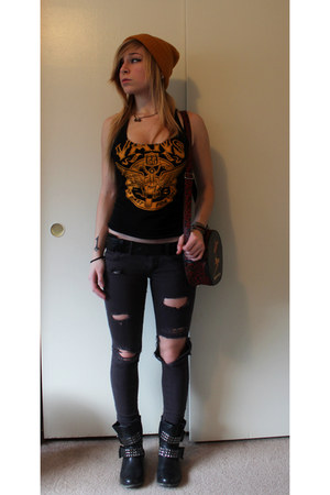 Vans top - studded leather Mia boots - Forever 21 hat - Value Village bag