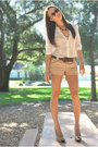 Tan-cathy-jean-heels-camel-express-shorts-cream-forever-21-blouse