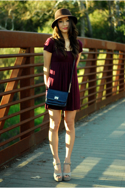 beige Steve Madden heels - maroon Forever 21 dress - deep purple Aldo purse