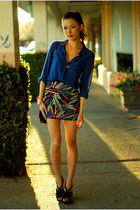 blue Old Navy top - magenta PacSun skirt - black Aldo heels
