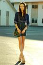 Green-forever-21-dress-navy-forever-21-cardigan-beige-steve-madden-heels