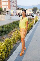 mustard Prada skirt - gold new look necklace - yellow Zara top