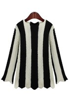 Black White Vertical Striped Sweater