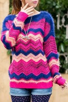 Zigzag Pattern Mohair Sweater