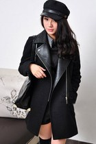 Black Fashion Cool Feel Paneled PU Collar Coat