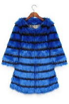 Elegant Striped Faux Fur Coat