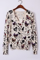OASAP V Neck Long Sleeve Printed Cardigan