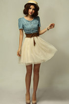 Vintage Denim Dress with Contrast Mesh Skirt