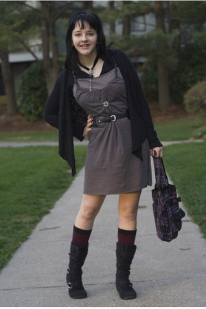gift boots - DIY dress - Claires bag - Forever 21 belt - Urban Outfitters cardig