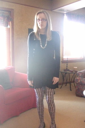 black Old Navy shirt - black H&M skirt - white Betsey Johnson tights - black Ste