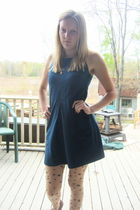 blue American Eagle dress - beige Betsey Johnson tights - brown thrifted shoes -