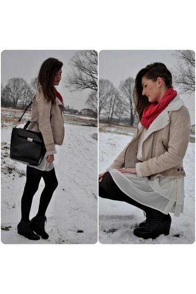 ivory asos dress - off white BSK jacket - hot pink NN scarf - black Zara bag