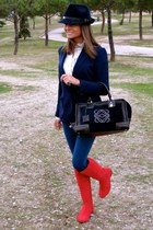 navy hollister jeans - ruby red Pilar Burgos boots - navy denny rose hat
